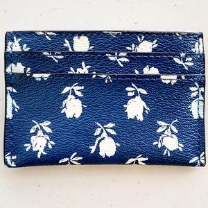 Coach Bags - Coach Leather Blue Floral Flower Card Case Wallet